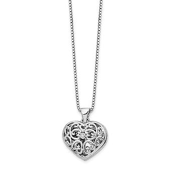 White Ice Diamond Love Heart Locket Necklace 18 Inch Jewelry Gifts for Women - .010 dwt