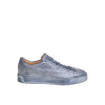 Santoni Mbgl21037tbsmpmpu57 Men's Blue Leather Sneakers