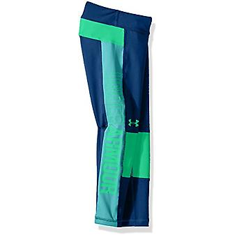 Under Armour Girls' Color Block Crop Capris, Moroccan Blue /Arena Green, Yout...