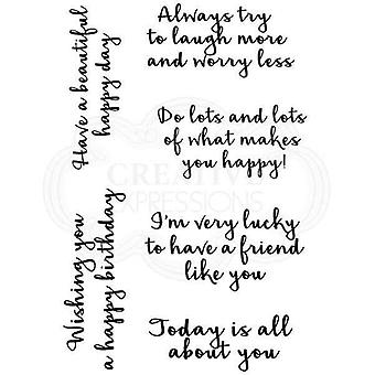 Woodware Clear Stamp Set Happy Thoughts Sentimenten