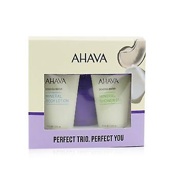 Ahava Deadsea Water Perfect Mineral Body Trio Set: Creme para as mãos 40ml + Loção corporal 40ml + Gel de Chuveiro 40ml - 3pcs