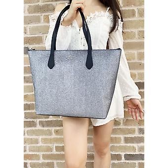 Kate spade joeley glitter penny large top zip tote handbag wkru6278 dusknavy