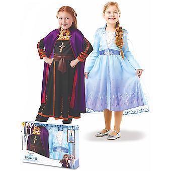 Coffret déguisements Elsa et Anna La Reine des neiges 2 fille