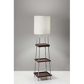 Walnut Wood Metal Shelf Floor Lamp with Charging Station