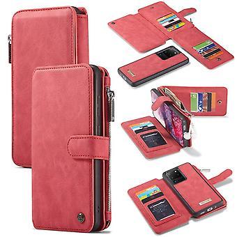 CASEME Samsung Galaxy S20 Ultra Retro läder plånboksfodral - Röd