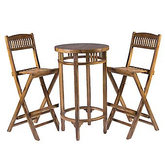 Weatherproof Outdoor Garden Wooden Table and 2 High Seated Chairs Furniture Set