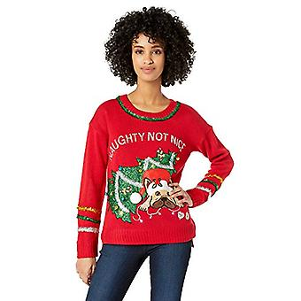 Blizzard Bay Women's Ugly Christmas Pet Sweater, Naughty Red, Medium