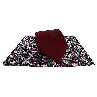 Michelsons of London Plain Tie and Contrast Floral Pocket Square Set - Wine