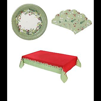 Botanische Berry Christmas Party Pack platen servetten tabel cover