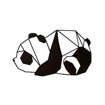 Decoración de pared panda negro en acero 52x0.15x31 cm