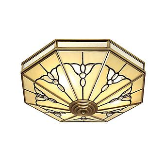 Gladstone Ceiling Lamp In Antique Brass And Tiffany Glass