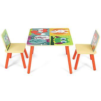 Wooden Children Activity Desk and 2 Chairs Nursery Furniture