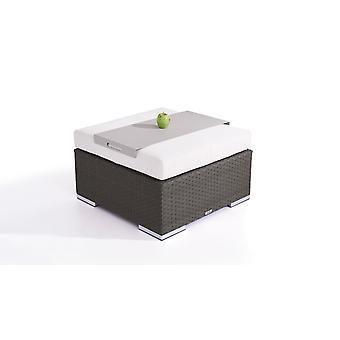 Polyrattan Cube kruk 75 cm - antraciet