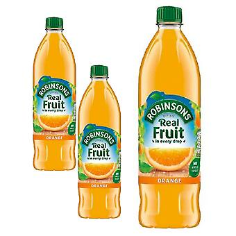 3 x 1litre Robinsons Orange Squash Fruit Soft Drink Juice Vegan Sugar FREE