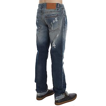 Chic Outlet Blue Wash Torn Cotton Stretch Regulat Fit Jeans