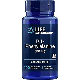 Life Extension D, L-Phenylalanine 500mg 100 Veggie Capsules