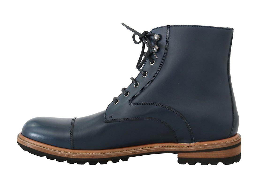 Dolce & Gabbana Blue Leather Ankle Boots Mv1671-8