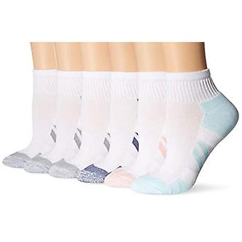 Essentials Women&s 6-Pack Performance Cotton Cushioned Athletic Ankle Socks, White, Shoe Size: 6-9