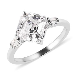 J FRANCIS Solitaire Made with Swarovski Zirconia Ring Sterling Silver, 4.75 Ct