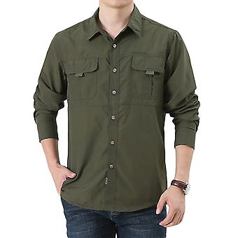 Allthemen Men's Fashion Casual Lapel Solid Long Sleeve Shirt