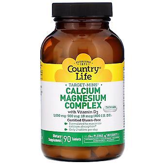 Country Life, Target-Mins Calcium Magnésium Complex avec vitamine D3, 90 comprimés