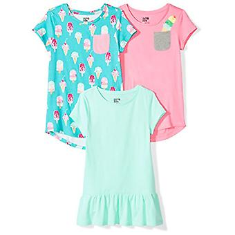 Brand - Spotted Zebra Little Girls' 3-Pack Short-Sleeve Tunic Tops, Sw...