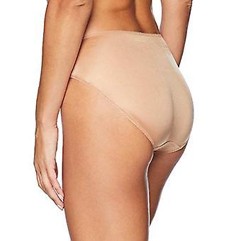 Merk - Arabella Women's Standard Hi Leg Lace Detail Panty, 3 Pack, Black/Charcoal Grey/Café Au Lait, Large
