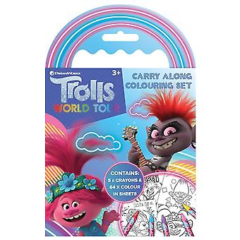 Trolls World Tour Carry Along Colouring Set with 5 Wax Crayons