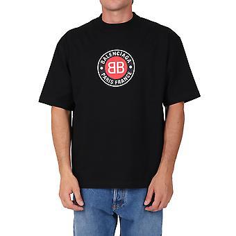 Balenciaga 612966tjvd61000 Männer's schwarze Baumwolle T-shirt