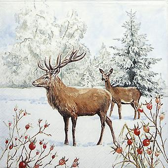 Ambiente 3 Ply Paper Napkins, Deer In Snow