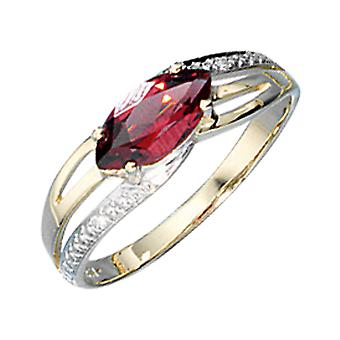 Damen Ring 585 Gold Gelbgold bicolor 1 Granat rot 2 Diamanten Brillanten  Größe:60