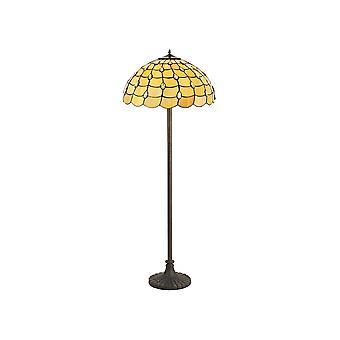 2 Light Stepped Design Lampada da pavimento E27 con 50cm Tiffany Shade, Beige, Clear Crystal, Aged Antique Brass