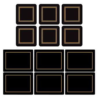 Pimpernel Classic Black Placemats and Coasters Set of 6