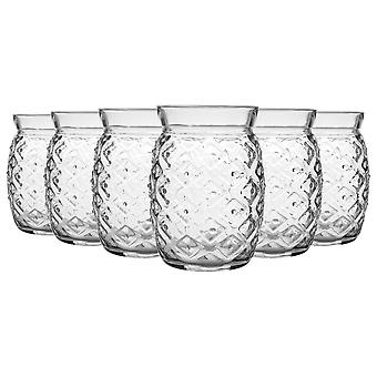 Bormioli Rocco 6 Piece Sour Pineapple Cocktail Glasögon Set - Dekorativa Tropisk tiki bar dricka tumblers - 455ml