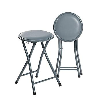 Pack of 4 Round Compact Folding Stool - Grey