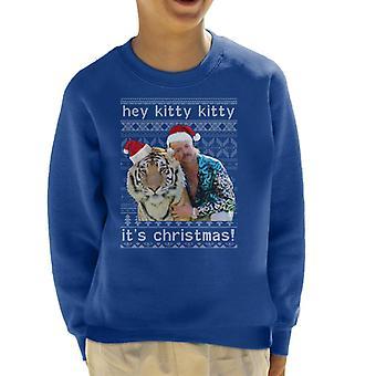 Tiger King Hey Kitty Kitty Its Chirstmas Kid's Sweatshirt