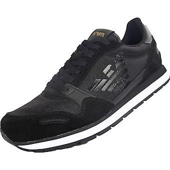 Emporio Armani X4x215 Xl198 Suede Sneaker Black Trainer