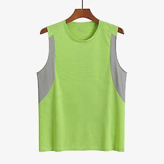 Men's Polyester Tank Tops, Patchwork Running Vest