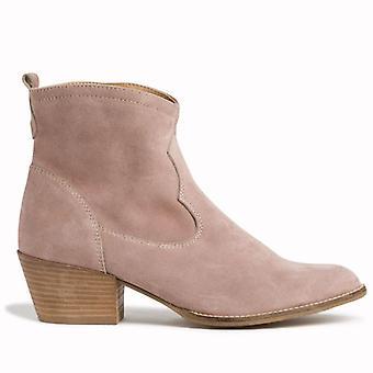 Botas de tornozelo de couro bege de tamaris texanos com salto médio