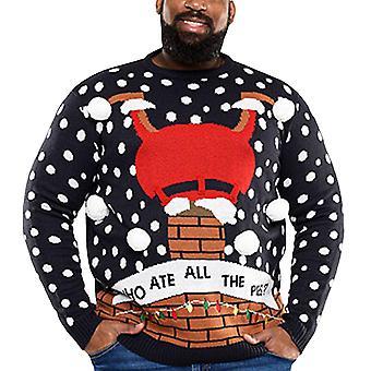 Duke D555 hombres gran rey alto tamaño sparkle novedad Navidad Navidad Jersey de Navidad - Marina
