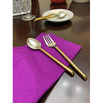 Golden Appetizer Forks & Dessert Spoons - Set Of 8