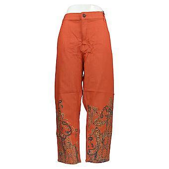 DG2 di Diane Gilman Women's Petite Jeans Orange Slim Animal Cotton 728-914