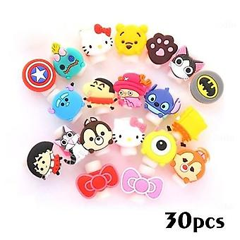 30 Pcs Cute Animal Bite Cable Data Protector