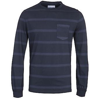 Albam Whelan Long Sleeve Navy Stripe T-Shirt