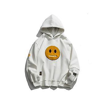 Zipper Pocket Smile Face Patchwork Fleece Sudaderas Sudaderas Streetwear