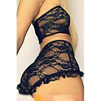 Lace Mesh Print Tube See Through Strapless Lingerie Set