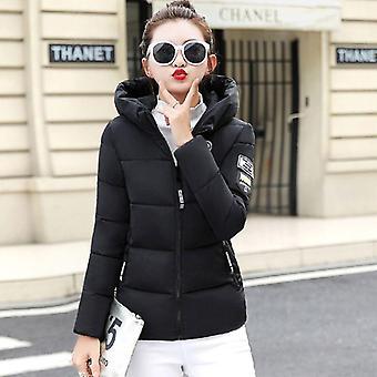 Invierno mujeres cálido corto algodón acolchado chaqueta básica con capucha