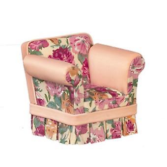 Dolls House Pink Floral Armchair Arm Chair Jbm Miniature Living Room Furniture