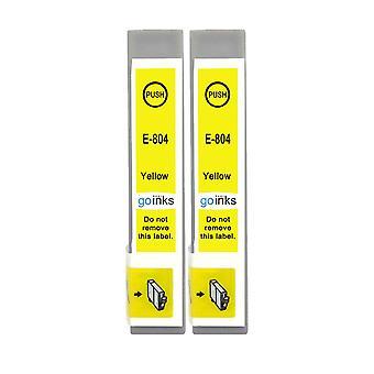 2 gule blekkpatroner for å erstatte Epson T0804-kompatibel/ikke-OEM fra Go-blekk