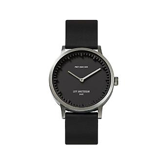 Leff Amsterdam LT74713 T32 Steel/Black Case Black Leather Strap Wristwatch